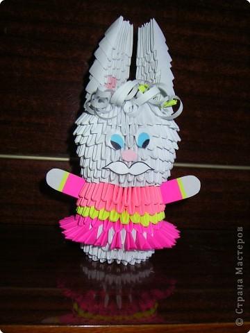 Оригами модульное: зайчишка - девочка