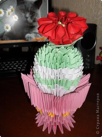 Оригами модульное: кактус в вазе