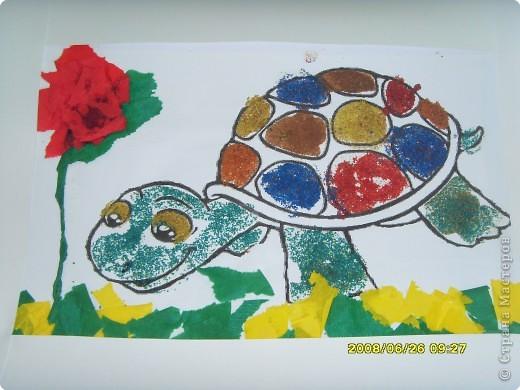 """Все  работы   выполнены  детьми  детского  центра  """"Разумейка"""". Для черепах был использован шаблон   http://umnyedetki.ru/raskraski4.html фото 6"""
