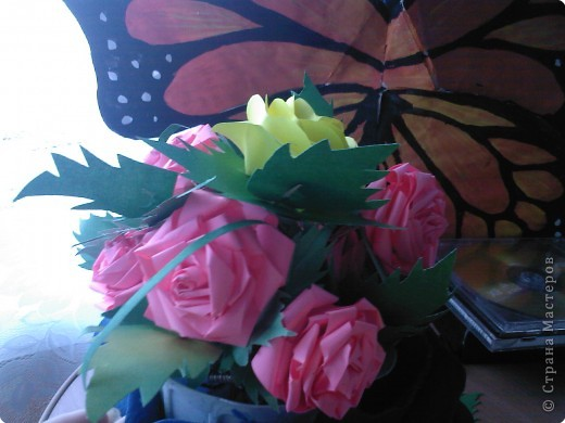 Квиллинг: Розовое дерево фото 1
