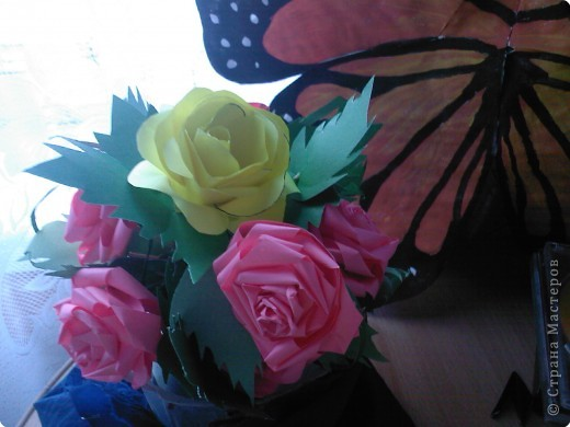 Квиллинг: Розовое дерево фото 3
