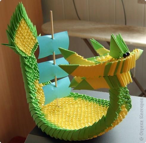 Оригами модульное: Корабль-дракон фото 1
