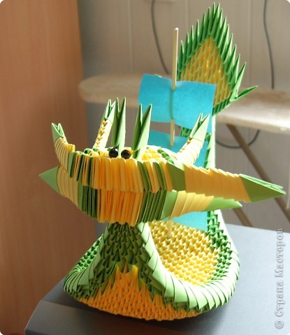 Оригами модульное: Корабль-дракон фото 2