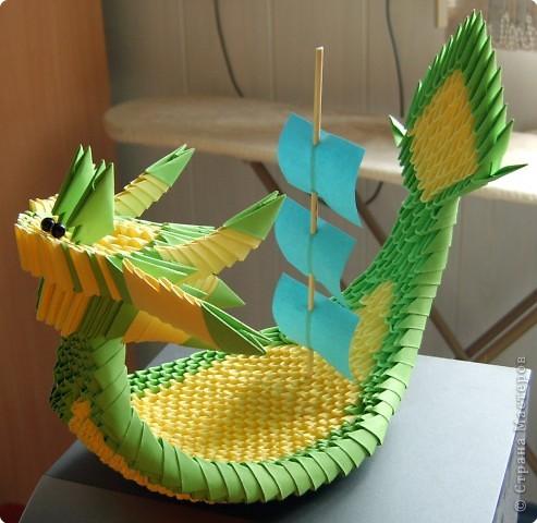 Оригами модульное: Корабль-дракон фото 3