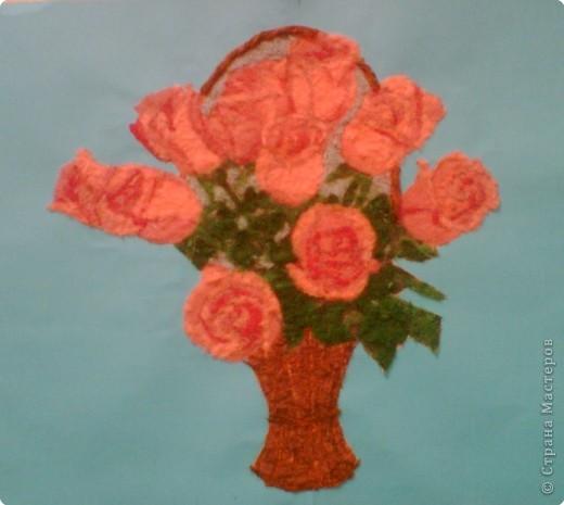 Аппликация: Корзинка с розами