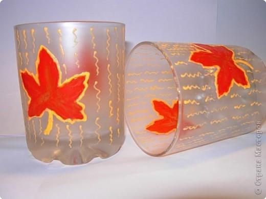 Декупаж: Листья на стекле