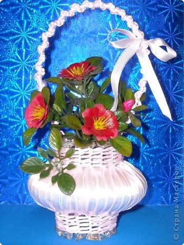 Корзинки с цветами из атласных лент своими руками