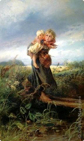 """В 1872 году Константин Егорович Маковский (русский художник) написал картину """"Дети, бегущие от грозы"""". На картине зарисовка природы перед грозой, изображение внешности сельских ребятишек и четко переданы эмоции и чувства детей. фото 1"""