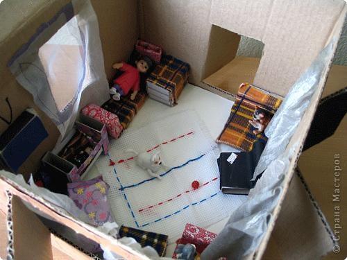 Мебель из спичечных коробков. Обстановка домика