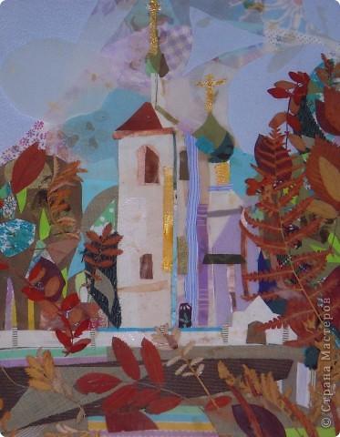 """"""" Церковь в усадьбе Островского"""". Текстильный коллаж, флористика. фото 1"""
