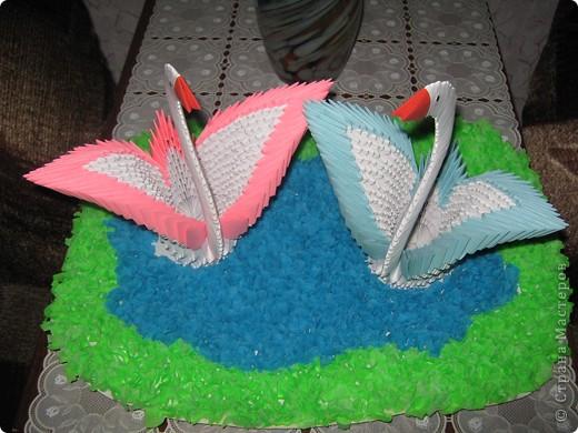 Оригами модульное, Торцевание: Лебеди фото 2