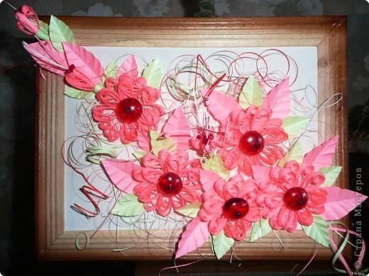 Квиллинг: Розовые цветы фото 1