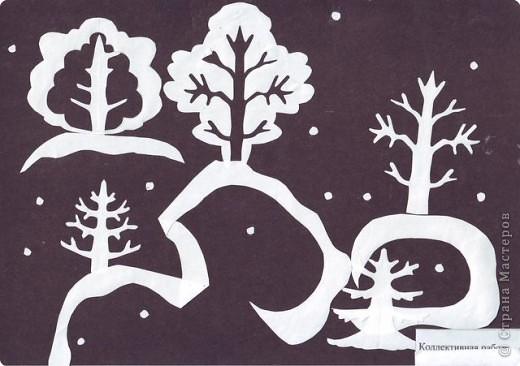 Аппликация, Вырезание симметричное: Зимний сад