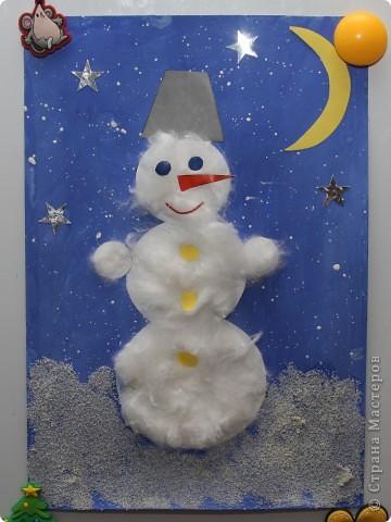 Поделка снеговик из цветной бумаги и картона
