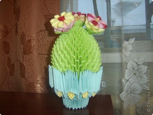 цветущий кактус, модульное оригами.