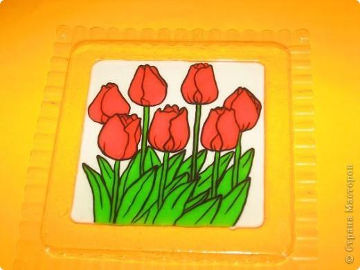 Аппликация из пластилина (+ обратная): Тюльпаны