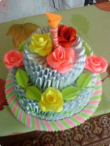 Оригами модульное: Тортик маме на день рождения за 10 часов фото 1