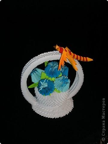 Оригами модульное: Корзинка с цветами