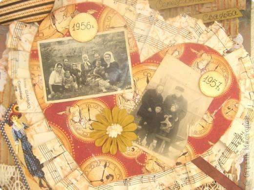 """Страничка в будущий альбом о моих предках. Сердце открывается и там спрятаны еще фото. На главной фотографии - бабушка и дедушка, """"Серебряная свадьба"""". Другие фото странички в моем блоге: www.didelis.blogspot.com фото 2"""