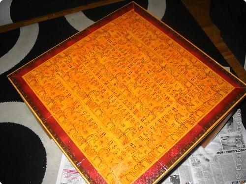 """""""Египетский столик"""" Делали совместно с сынишкой (7лет) Салфетки, акриловый лак ."""