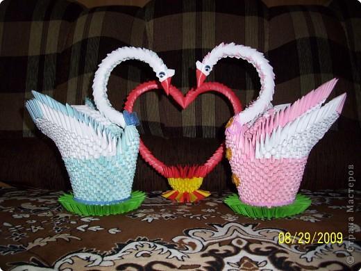 Оригами модульное: Свадебные лебёдушки))) фото 1