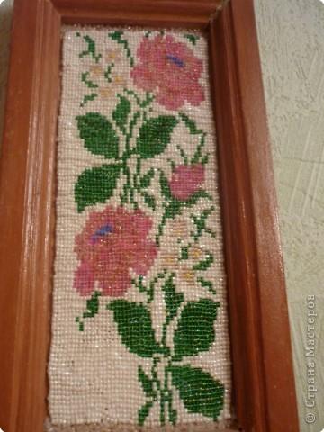 Картина панно рисунок Бисероплетение панно Розы Бисер.