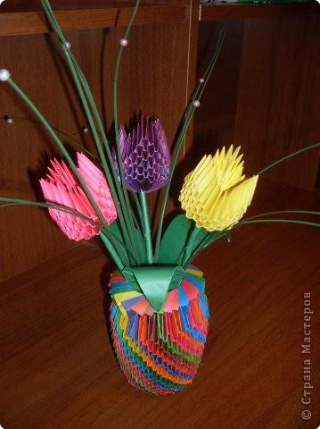 Оригами модульное: Тюльпаны в вазочке фото 1