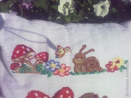 Вышивка крестом: Подушка для крестника фото 2