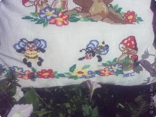Вышивка крестом: Подушка для крестника фото 4