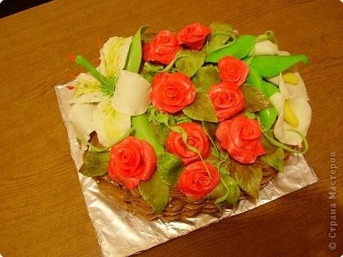 Это тортик-корзинка для моей бабули:) фото 2