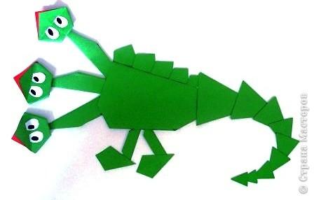 Аппликация, Оригами: Змеюшка-Драконюшка бумажный