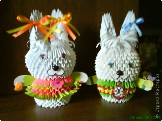 Оригами модульное: Зайчики