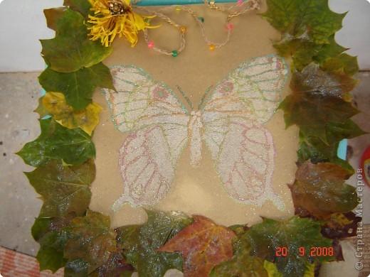 Картина - простая раскраска перенесенная на картон, контуры обведены цветным клеем. Сама бабочка покрыта ПВА клеем и посыпана манной крупой. фото 2