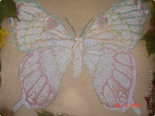 Картина - простая раскраска перенесенная на картон, контуры обведены цветным клеем. Сама бабочка покрыта ПВА клеем и посыпана манной крупой. фото 1