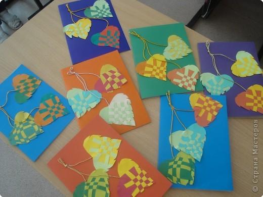Использовали плетённые листья из МК Татьяны  Николаевны для создания открытки к Дню учителя. фото 1
