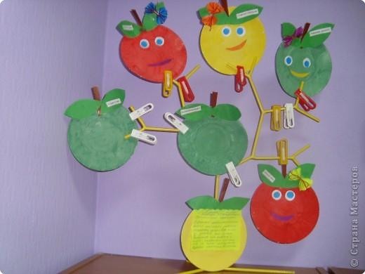 Яблочки из одноразовых тарелок.