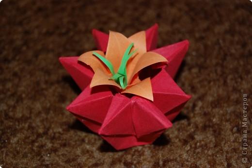 это 6 лепестковая лилия в коробочке оригами фото 1