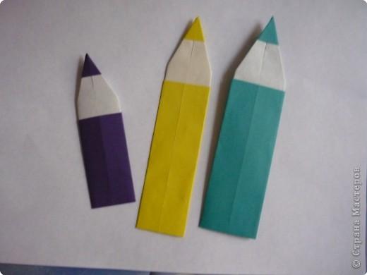 "Оригами: Закладка ""Карандаш"" МК фото 1"