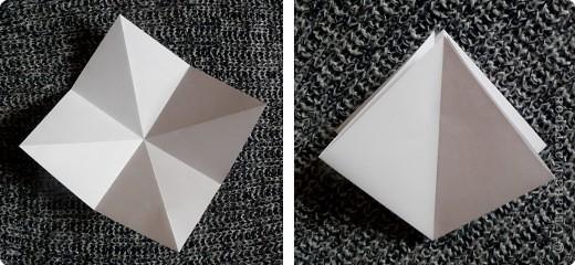 Вот и обещанный МК. Первый раз я делала такой цветок по книге Санбук Смит «Цветы Оригами». И там урок назывался «Барвинок – пестрые лоскутки». Потому и я назову его «Барвинок». Делать такой цветок не сложно. Самая большая проблема в том, что Барвинок очень маленький. Для одного цветка потребуется лист со стороной 5 см. На фото МК лист раза в 3 больше для наглядности. И вам советую взять на первый раз большой лист, чтобы освоиться и понять принцип складывания.   фото 2