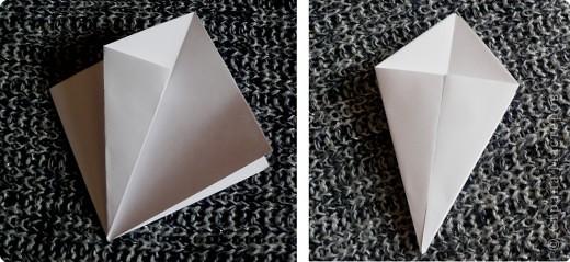 Вот и обещанный МК. Первый раз я делала такой цветок по книге Санбук Смит «Цветы Оригами». И там урок назывался «Барвинок – пестрые лоскутки». Потому и я назову его «Барвинок». Делать такой цветок не сложно. Самая большая проблема в том, что Барвинок очень маленький. Для одного цветка потребуется лист со стороной 5 см. На фото МК лист раза в 3 больше для наглядности. И вам советую взять на первый раз большой лист, чтобы освоиться и понять принцип складывания.   фото 3