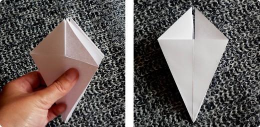 Вот и обещанный МК. Первый раз я делала такой цветок по книге Санбук Смит «Цветы Оригами». И там урок назывался «Барвинок – пестрые лоскутки». Потому и я назову его «Барвинок». Делать такой цветок не сложно. Самая большая проблема в том, что Барвинок очень маленький. Для одного цветка потребуется лист со стороной 5 см. На фото МК лист раза в 3 больше для наглядности. И вам советую взять на первый раз большой лист, чтобы освоиться и понять принцип складывания.   фото 6