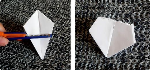 Вот и обещанный МК. Первый раз я делала такой цветок по книге Санбук Смит «Цветы Оригами». И там урок назывался «Барвинок – пестрые лоскутки». Потому и я назову его «Барвинок». Делать такой цветок не сложно. Самая большая проблема в том, что Барвинок очень маленький. Для одного цветка потребуется лист со стороной 5 см. На фото МК лист раза в 3 больше для наглядности. И вам советую взять на первый раз большой лист, чтобы освоиться и понять принцип складывания.   фото 13