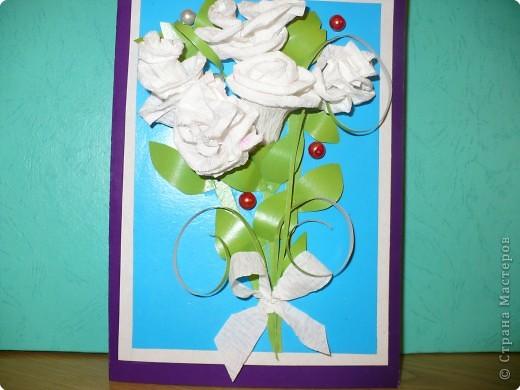 Аппликация: открытка с белыми розами