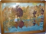 """""""Волшебное озеро"""". Аппликация на акварели из осенних листьев"""