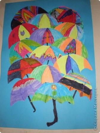 Аппликация: Красный зонтик, желтый зонтик...