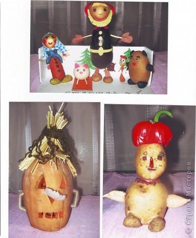 """к празднику урожая делалась выставка """"Поделки из овощей и фруктов"""", в детском саду. фото 1"""