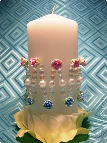 Аппликация, Бисероплетение, Моделирование: Свадебная свеча фото 1