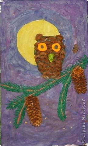 Мозаика из чашуек шишек стланника. Работа Анжелики Артёмовой.8 лет