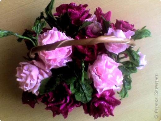 Бумагопластика: корзинка роз фото 2