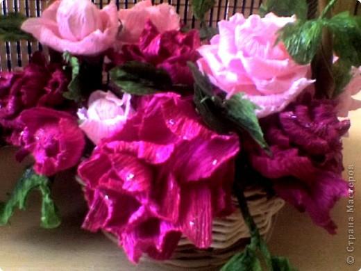 Бумагопластика: корзинка роз фото 4